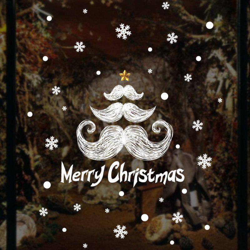 Christmas Mustache Pattern Wall Art Stickers For BedroomHOME<br><br>Size: 45*60CM; Color: WHITE; Wall Sticker Type: Plane Wall Stickers; Functions: Decorative Wall Stickers; Theme: Christmas; Pattern Type: Letter; Material: PVC; Feature: Removable; Weight: 0.0846kg; Package Contents: 1 x Wall Stickers;