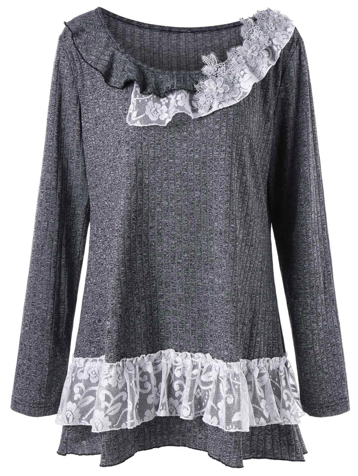 Plus Size Flounced Lace Trim Tunic TopWOMEN<br><br>Size: 3XL; Color: DEEP GRAY; Material: Polyester,Rayon; Shirt Length: Long; Sleeve Length: Full; Collar: Scoop Neck; Style: Casual; Season: Fall,Spring; Embellishment: Appliques,Lace; Pattern Type: Floral; Weight: 0.3100kg; Package Contents: 1 x Top;