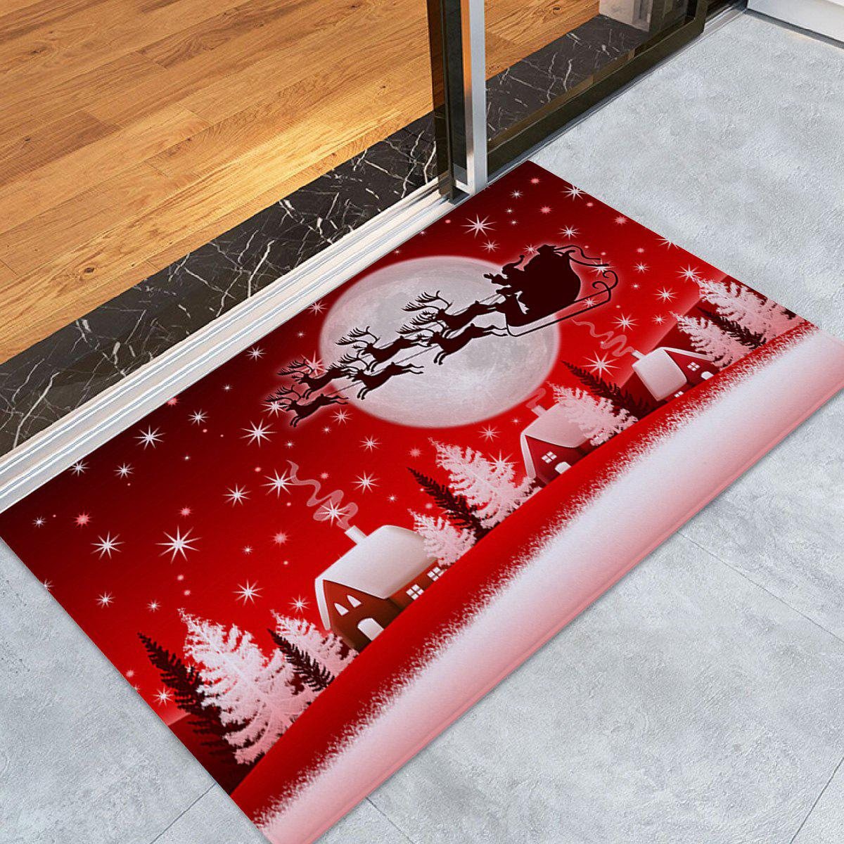 Christmas Sled Moon Print Coral Fleece Antiskid Bath RugHOME<br><br>Size: W16 INCH * L24 INCH; Color: RED; Products Type: Bath rugs; Materials: Coral FLeece; Style: Festival; Shape: Rectangular; Package Contents: 1 x Rug;