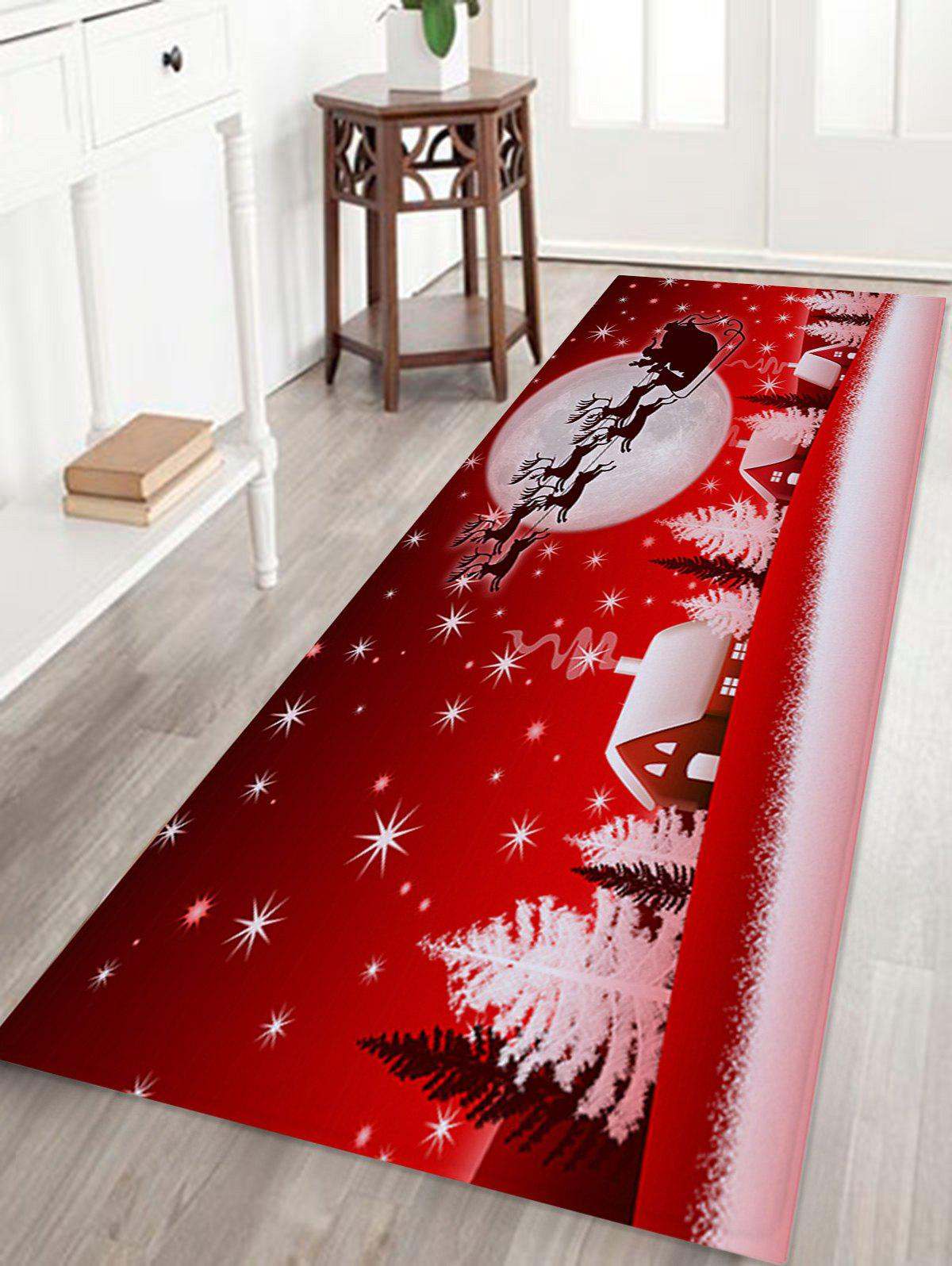 Christmas Sled Moon Print Coral Fleece Antiskid Bath RugHOME<br><br>Size: W24 INCH * L71 INCH; Color: RED; Products Type: Bath rugs; Materials: Coral FLeece; Style: Festival; Shape: Rectangular; Package Contents: 1 x Rug;