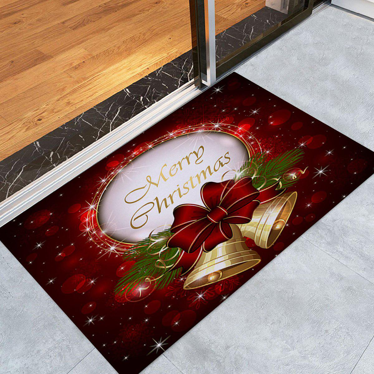 Online Christmas Bells Printed Nonslip Fleece Bath Mat
