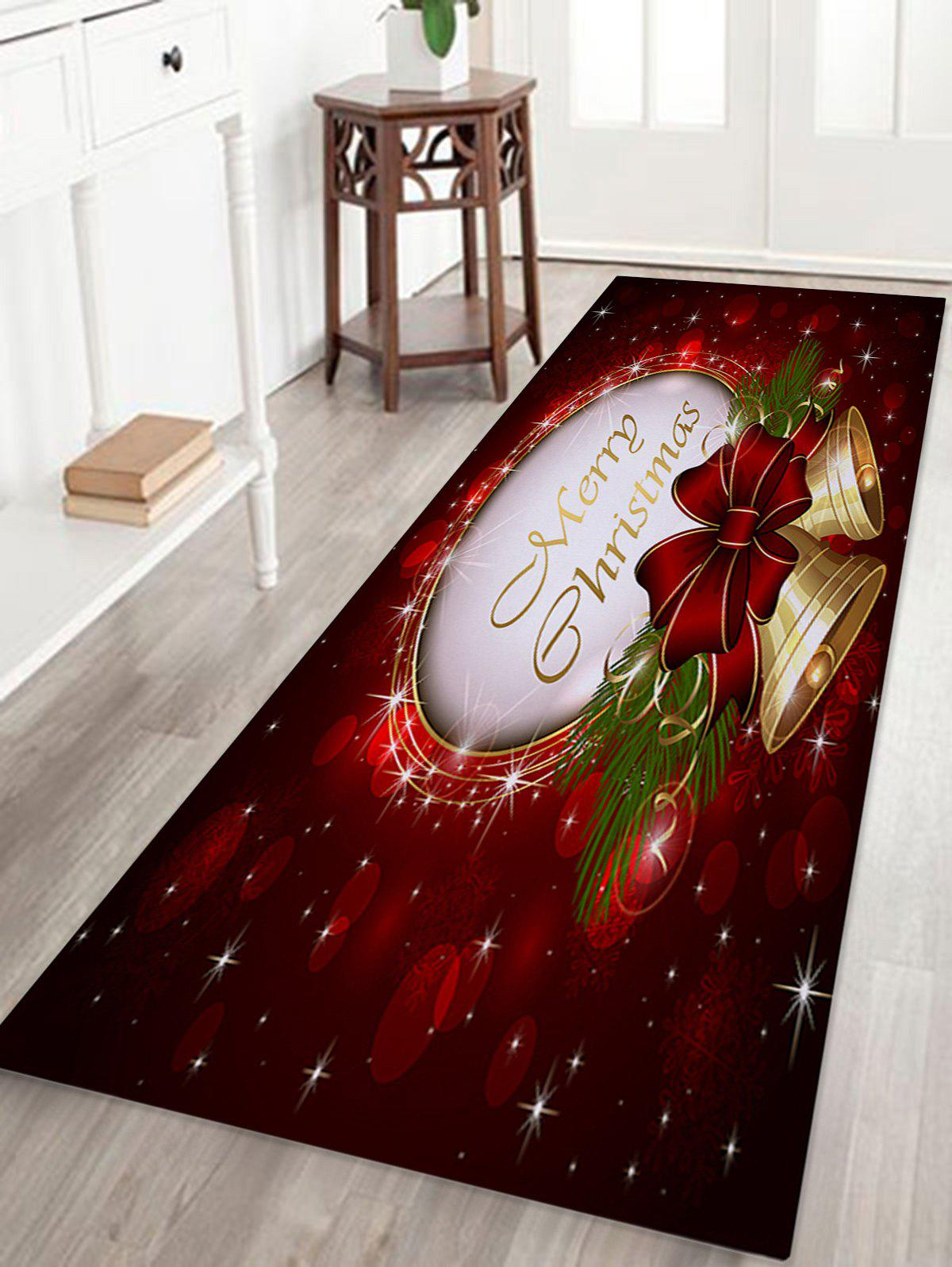 Christmas Bells Printed Coral Nonslip Fleece Bath MatHOME<br><br>Size: W24 INCH * L71 INCH; Color: DARK RED; Products Type: Bath rugs; Materials: Coral FLeece; Style: Festival; Shape: Rectangular; Package Contents: 1 x Rug;