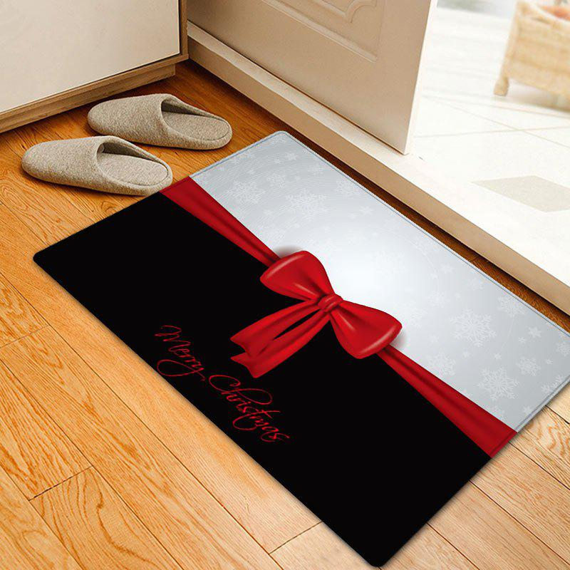 Merry Christmas Bowknot Pattern Anti-skid Water Absorption Area RugHOME<br><br>Size: W20 INCH * L31.5 INCH; Color: BLACK WHITE; Products Type: Bath rugs; Materials: Flannel; Pattern: Bowknot,Letter; Style: Festival; Shape: Rectangle; Package Contents: 1 x Rug;