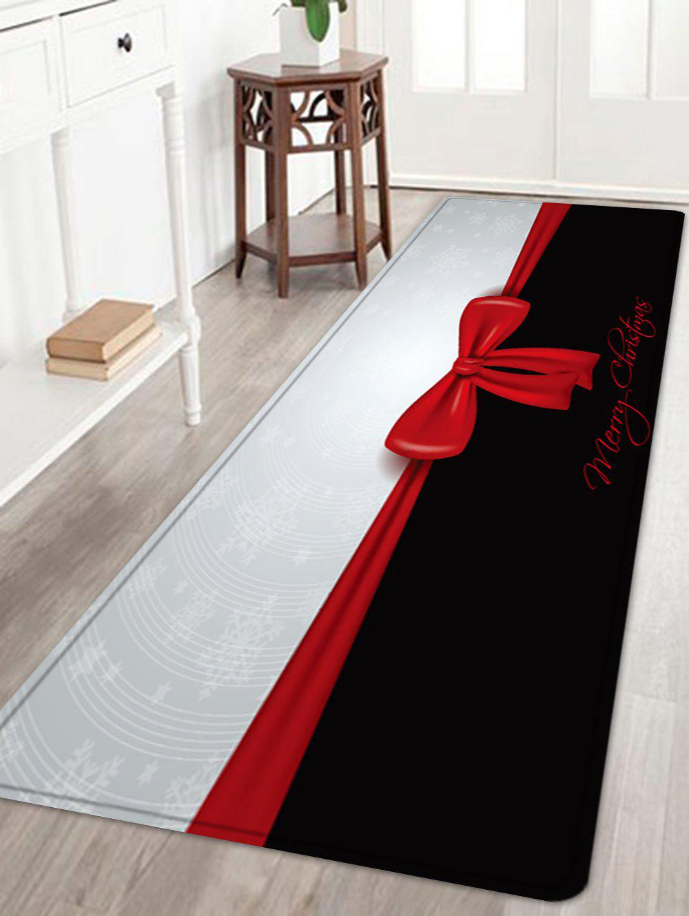 Merry Christmas Bowknot Pattern Anti-skid Water Absorption Area RugHOME<br><br>Size: W24 INCH * L71 INCH; Color: BLACK WHITE; Products Type: Bath rugs; Materials: Flannel; Pattern: Bowknot,Letter; Style: Festival; Shape: Rectangle; Package Contents: 1 x Rug;