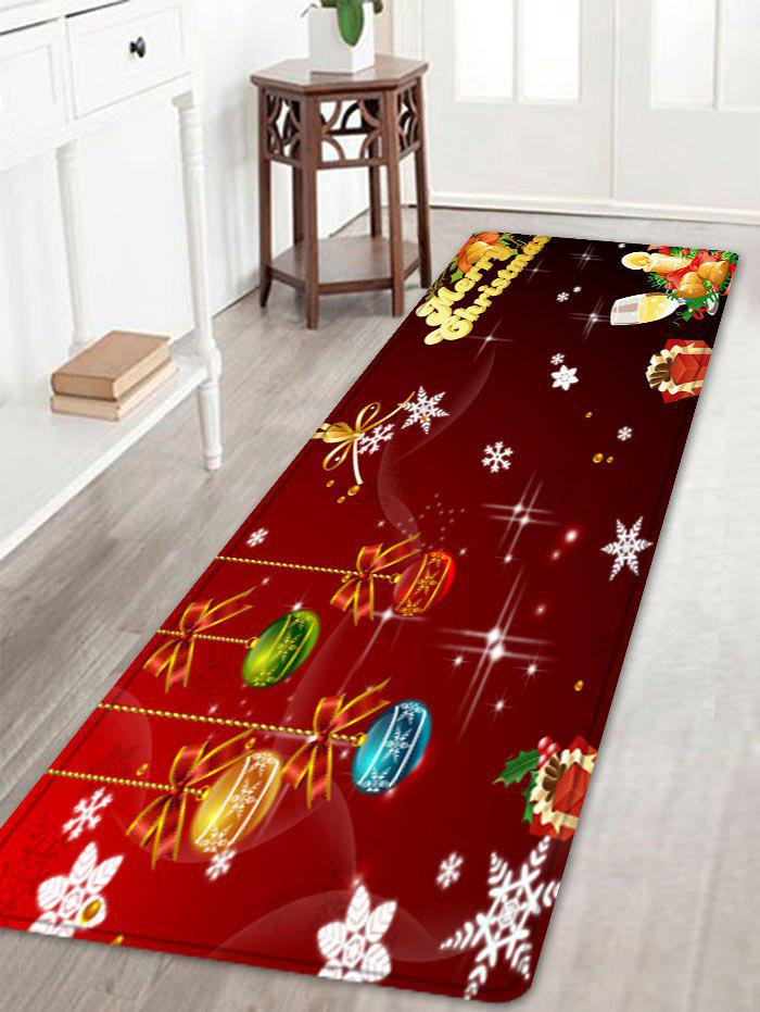 Christmas Baubles Letters Pattern Anti-skid Water Absorption Area RugHOME<br><br>Size: W16 INCH * L47 INCH; Color: RED; Products Type: Bath rugs; Materials: Flannel; Pattern: Ball,Letter; Style: Festival; Shape: Rectangle; Package Contents: 1 x Rug;