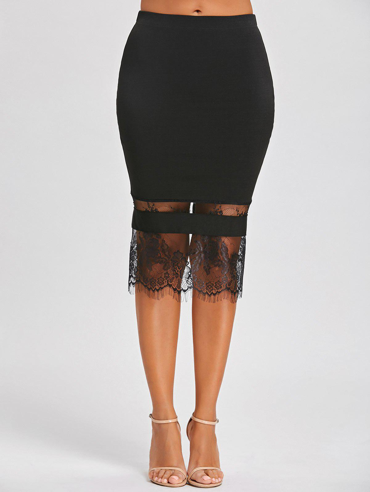 Lace Insert Midi Bodycon SkirtWOMEN<br><br>Size: 2XL; Color: BLACK; Material: Polyester,Spandex; Length: Mid-Calf; Silhouette: Bodycon; Pattern Type: Solid; Embellishment: Lace; Season: Fall,Spring; Weight: 0.1720kg; Package Contents: 1 x Skirt;