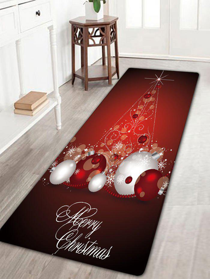 Christmas Balls Pattern Antislip Flannel Bath RugHOME<br><br>Size: W16 INCH * L47 INCH; Color: DARK RED; Products Type: Bath rugs; Materials: Flannel; Style: Festival; Shape: Rectangular; Package Contents: 1 x Rug;