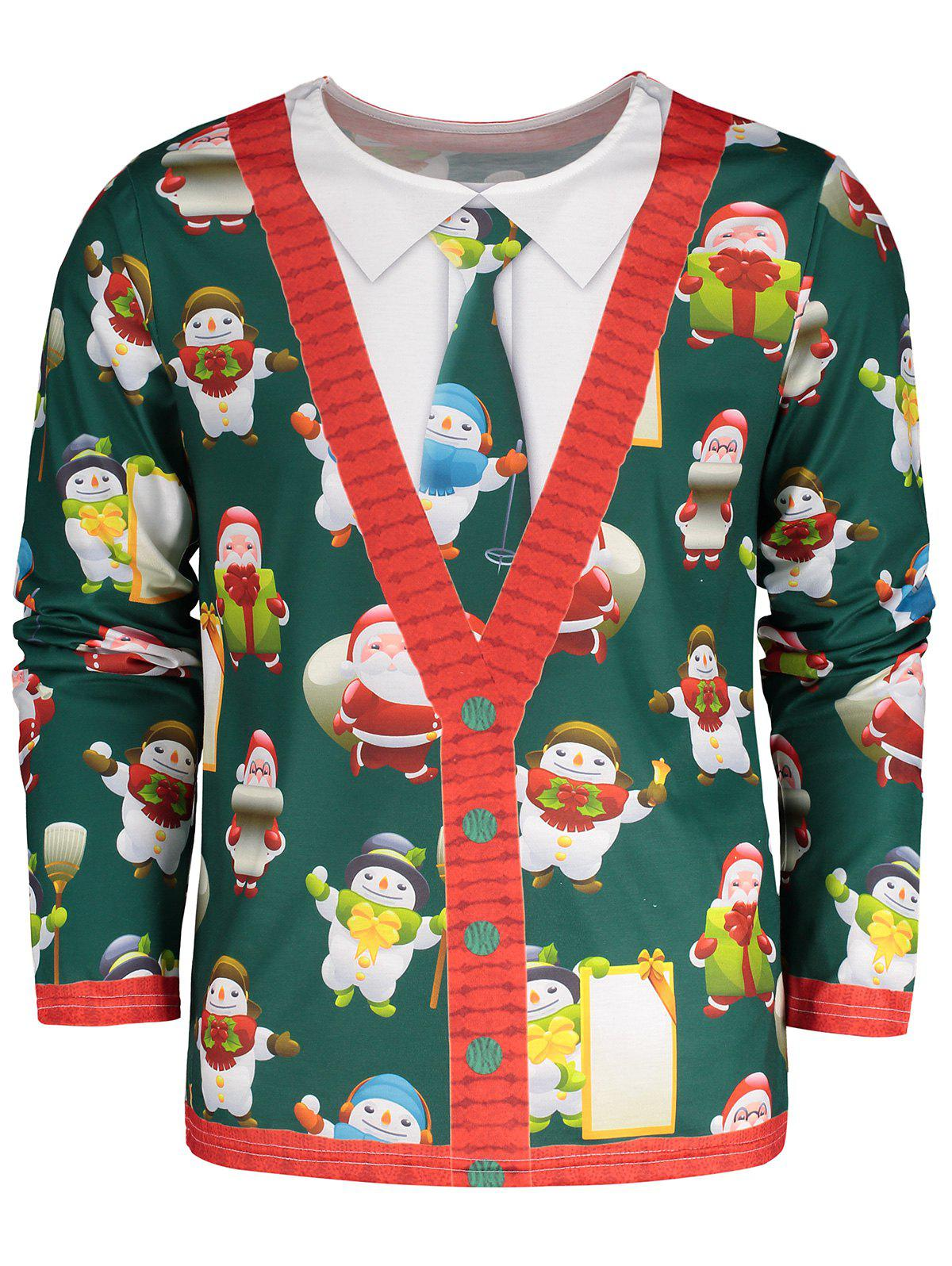 Plus Size 3D Printed Christmas TeeMEN<br><br>Size: 2XL; Color: GREEN; Material: Polyester; Sleeve Length: Full; Collar: Round Neck; Style: Casual; Pattern Type: Print; Season: Fall,Winter; Weight: 0.4100kg; Package Contents: 1 x Tee;