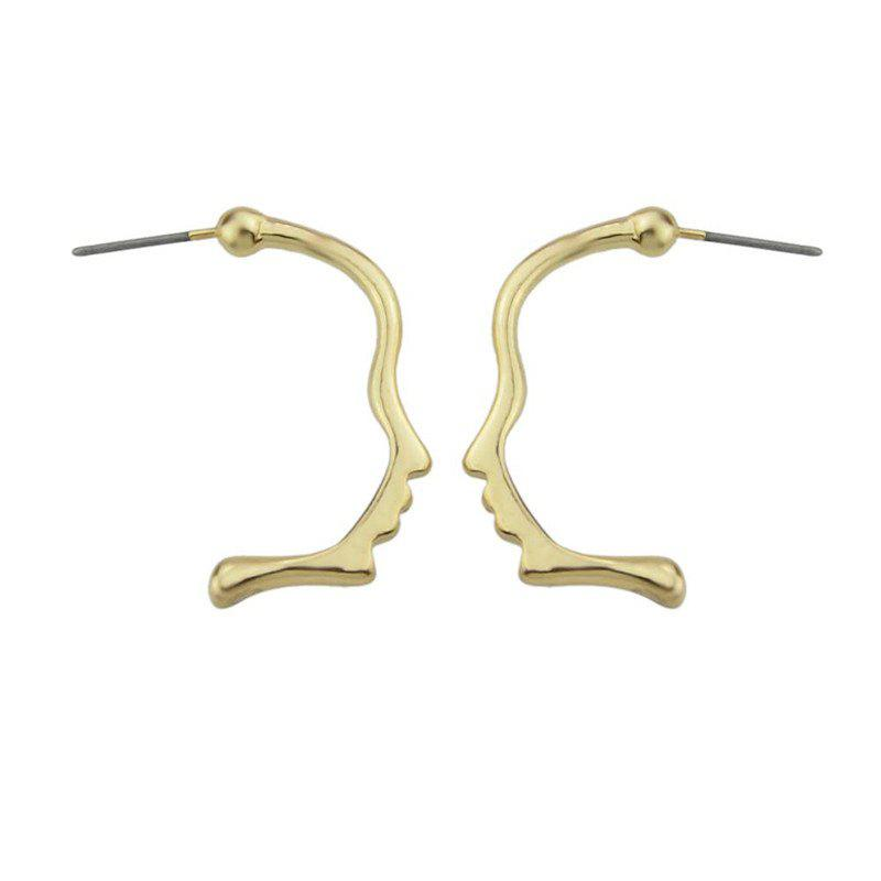 Alloy Funny Face Stud EarringsJEWELRY<br><br>Color: GOLDEN; Earring Type: Stud Earrings; Gender: For Women; Style: Trendy; Shape/Pattern: Solid; Length: 2.8CM; Weight: 0.0300kg; Package Contents: 1 x Earring (Pair);