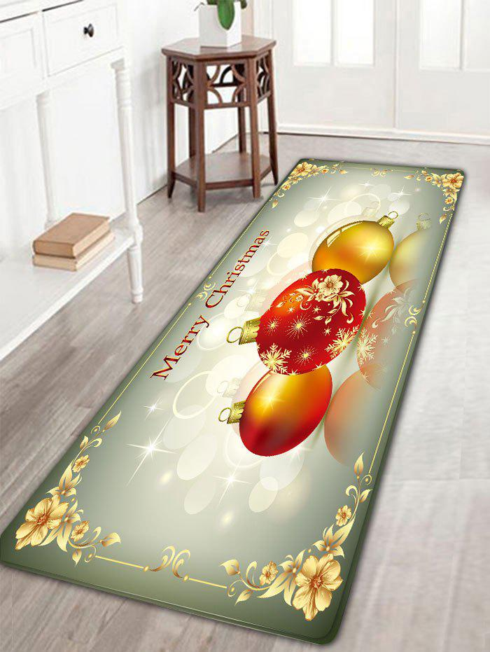 Flannel Nonslip Christmas Balls Print Bath MatHOME<br><br>Size: W16 INCH * L47 INCH; Color: COLORMIX; Products Type: Bath rugs; Materials: Flannel; Pattern: Ball,Floral; Style: Festival; Shape: Rectangular; Package Contents: 1 x Rug;