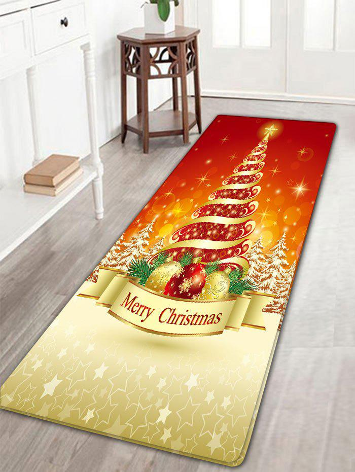 Christmas Tree Pattern Flannel Nonslip Bath RugHOME<br><br>Size: W16 INCH * L47 INCH; Color: COLORMIX; Products Type: Bath rugs; Materials: Flannel; Pattern: Ball,Christmas Tree; Style: Festival; Shape: Rectangular; Package Contents: 1 x Rug;