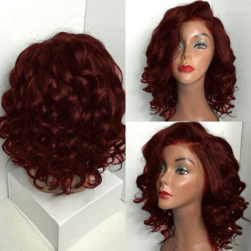 Short Side Parting Fluffy Body Wave Bob Synthetic WigHAIR<br><br>Color: WINE RED; Type: Full Wigs; Cap Construction: Capless; Style: Wavy; Material: Synthetic Hair; Bang Type: Side; Length: Short; Length Size(CM): 46; Weight: 0.2400kg; Package Contents: 1 x Wig;
