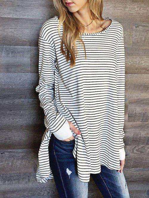 Side Slit Striped T-shirtWOMEN<br><br>Size: XL; Color: STRIP PATTERN; Material: Cotton,Polyester; Shirt Length: Long; Sleeve Length: Full; Collar: Round Neck; Style: Casual; Pattern Type: Striped; Season: Fall,Spring,Winter; Weight: 0.3300kg; Package Contents: 1 x T-shirt;