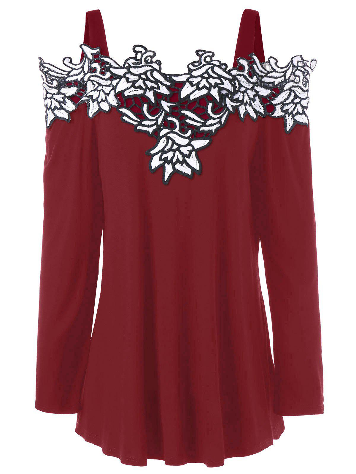 Plus Size Cold Shoulder Embroidered Long Sleeve T-shirtWOMEN<br><br>Size: 3XL; Color: RED; Material: Cotton,Polyester; Shirt Length: Regular; Sleeve Length: Full; Collar: Spaghetti Strap; Style: Fashion; Season: Fall,Spring; Embellishment: Embroidery; Pattern Type: Floral; Weight: 0.3000kg; Package Contents: 1 x T-shirt;