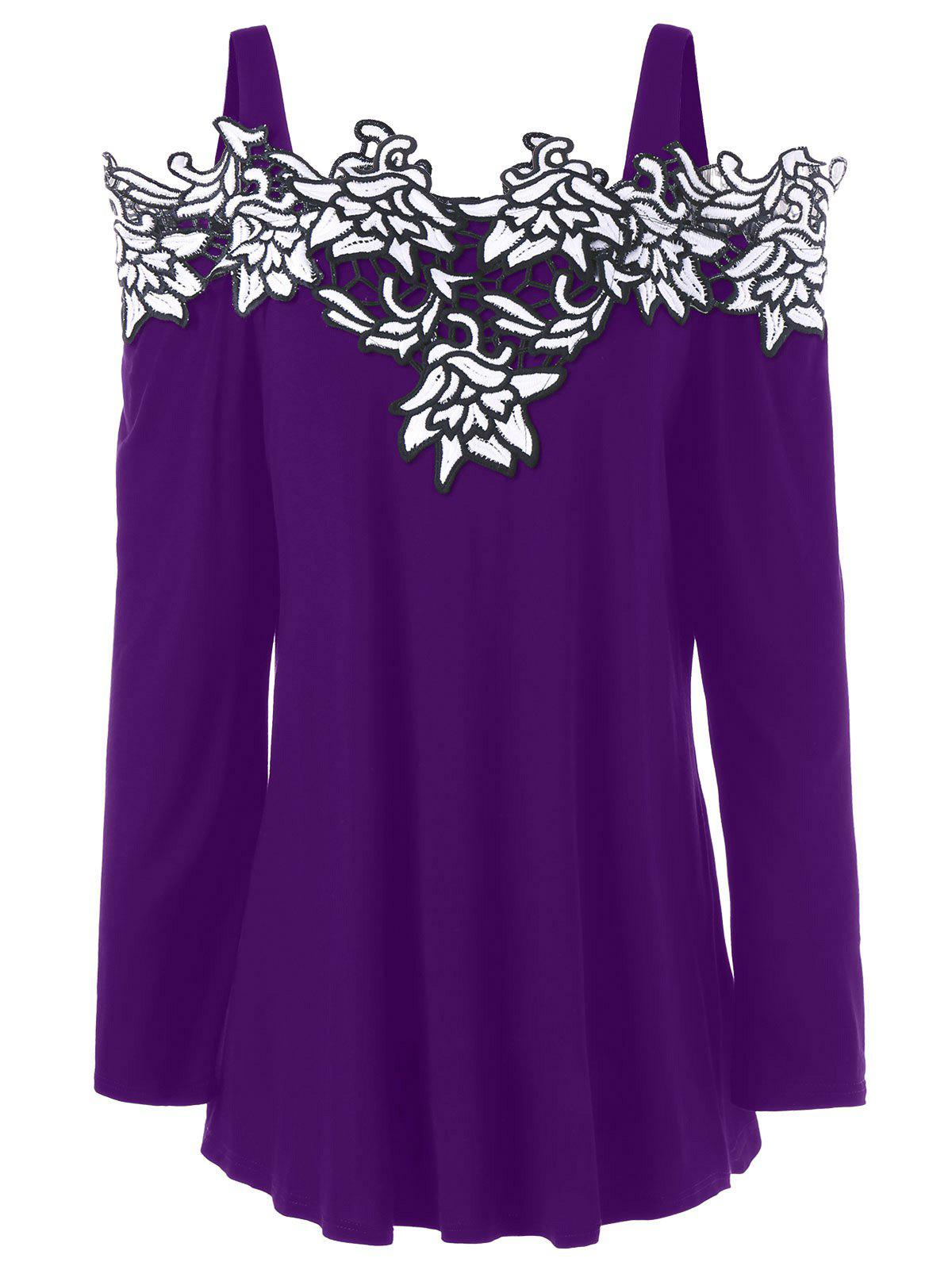 Plus Size Cold Shoulder Embroidered Long Sleeve T-shirtWOMEN<br><br>Size: 4XL; Color: PURPLE; Material: Cotton,Polyester; Shirt Length: Regular; Sleeve Length: Full; Collar: Spaghetti Strap; Style: Fashion; Season: Fall,Spring; Embellishment: Embroidery; Pattern Type: Floral; Weight: 0.3000kg; Package Contents: 1 x T-shirt;