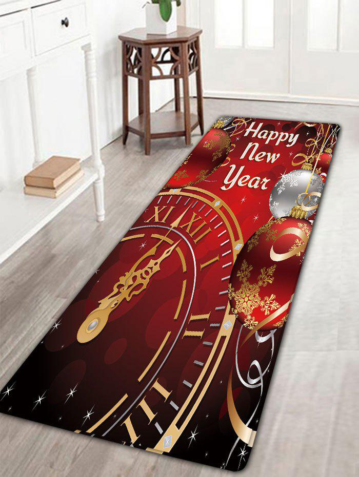 Christmas Balls Clock Print Flannel Skidproof Bath MatHOME<br><br>Size: W16 INCH * L47 INCH; Color: DARK RED; Products Type: Bath rugs; Materials: Flannel; Pattern: Ball,Letter; Style: Festival; Shape: Rectangular; Package Contents: 1 x Rug;