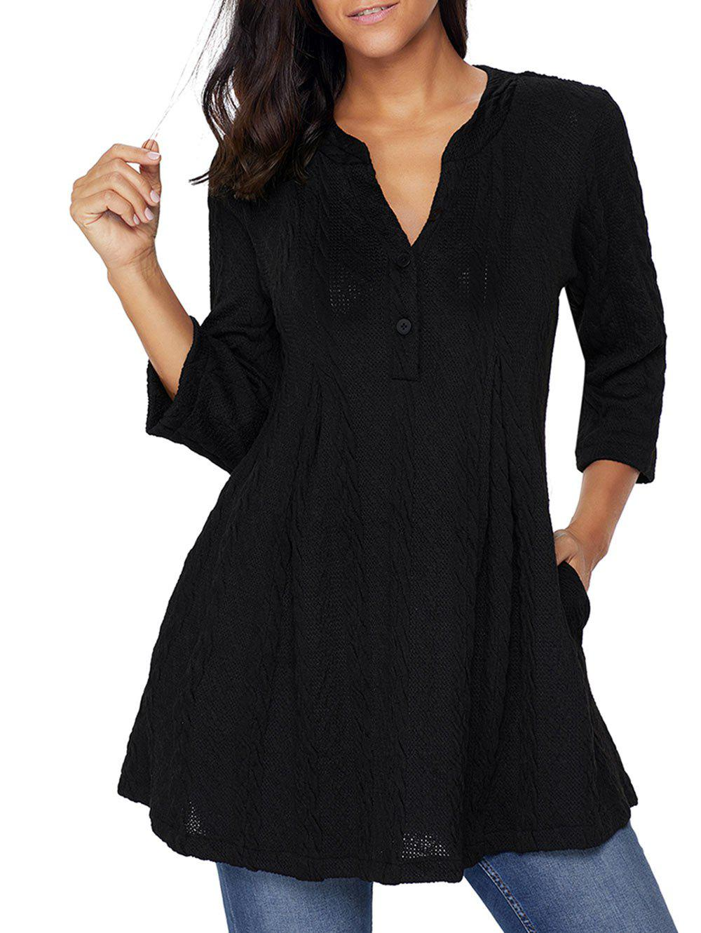 Cable Knitted V Neck Tunic SweaterWOMEN<br><br>Size: 2XL; Color: BLACK; Type: Pullovers; Material: Polyester,Spandex; Sleeve Length: Three Quarter; Collar: V-Neck; Style: Fashion; Pattern Type: Solid; Season: Fall,Spring; Weight: 0.6300kg; Package Contents: 1 x Sweater;