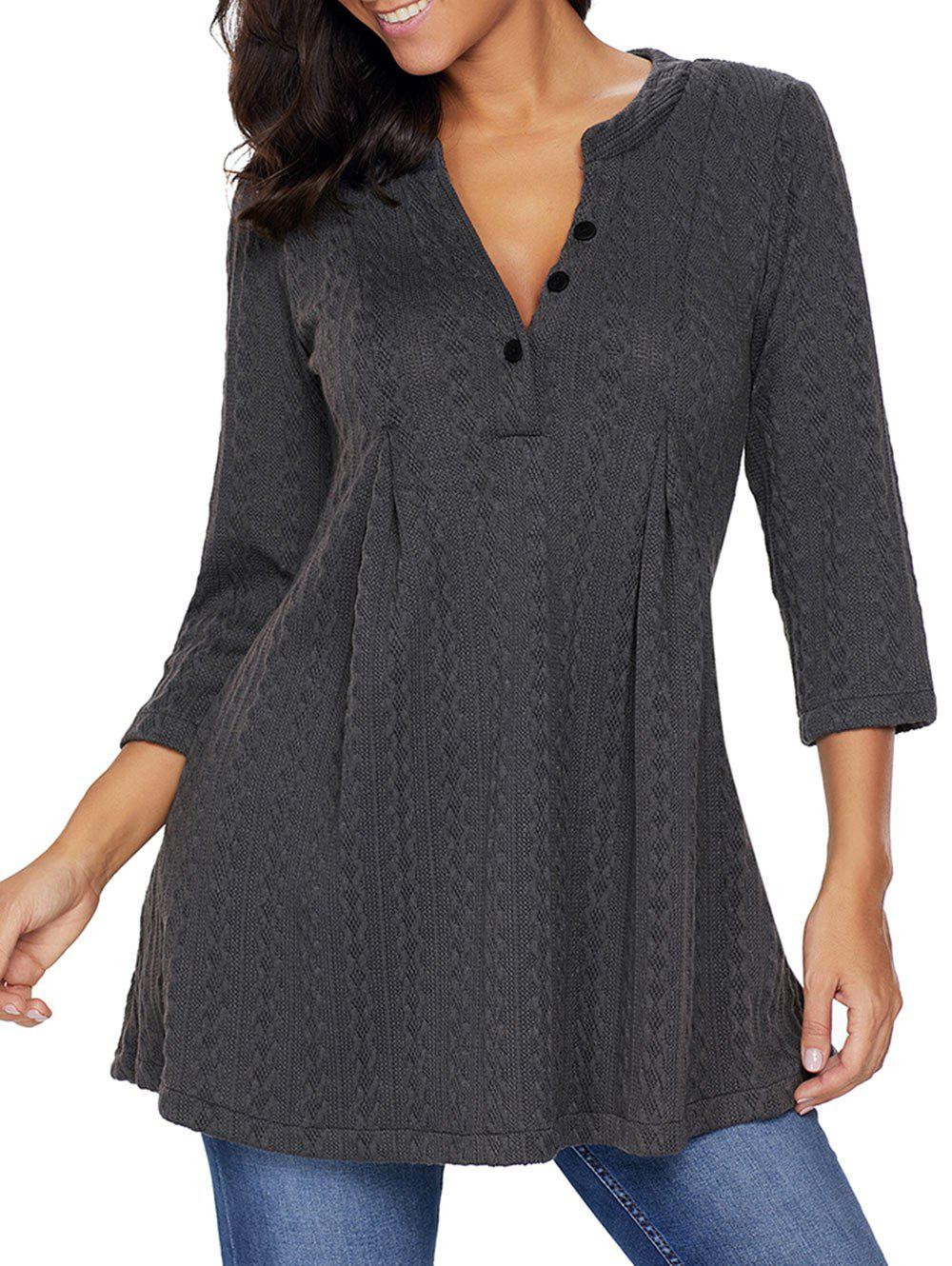 Cable Knitted V Neck Tunic SweaterWOMEN<br><br>Size: L; Color: DEEP GRAY; Type: Pullovers; Material: Polyester,Spandex; Sleeve Length: Three Quarter; Collar: V-Neck; Style: Fashion; Pattern Type: Solid; Season: Fall,Spring; Weight: 0.6300kg; Package Contents: 1 x Sweater;