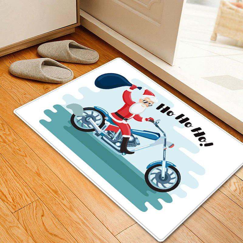 Christmas Santa Motorcycle Pattern Anti-skid Water Absorption Area RugHOME<br><br>Size: W16 INCH * L24 INCH; Color: COLORMIX; Products Type: Bath rugs; Materials: Flannel; Pattern: Letter,Santa Claus; Style: Festival; Shape: Rectangle; Package Contents: 1 x Rug;