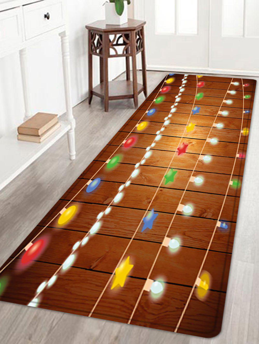 Christmas String Lights Pattern Anti-skid Water Absorption Area RugHOME<br><br>Size: W24 INCH * L71 INCH; Color: COLORMIX; Products Type: Bath rugs; Materials: Flannel; Pattern: Ball,Star; Style: Festival; Shape: Rectangle; Package Contents: 1 x Rug;
