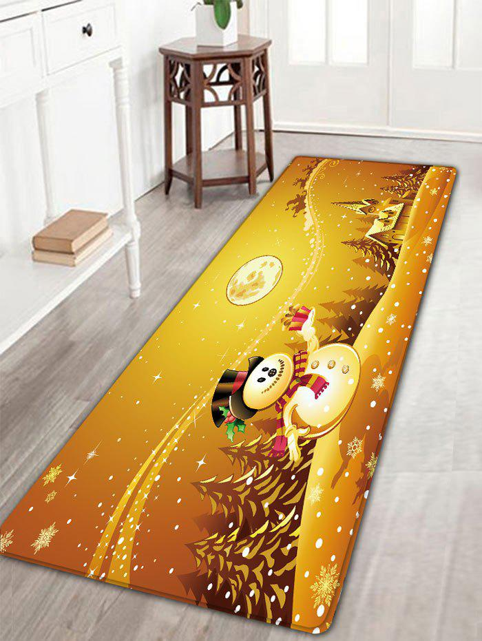Flannel Antiskid Christmas Printed Bath MatHOME<br><br>Size: W16 INCH * L47 INCH; Color: GOLDEN; Products Type: Bath rugs; Materials: Flannel; Pattern: Snowman; Style: Festival; Shape: Rectangular; Package Contents: 1 x Rug;