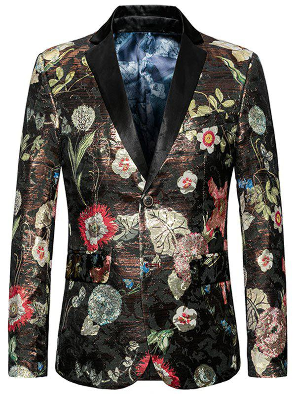 Shops Floral Pattern Lapel Single Breasted Blazer