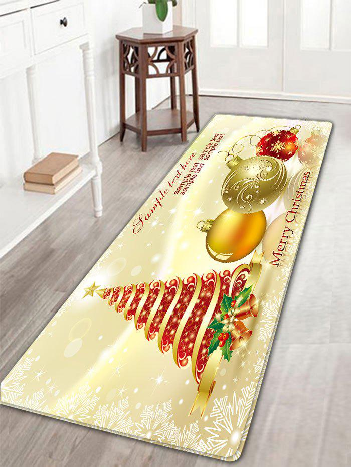 Christmas Tree and Balls Print Flannel Antiskid Bath MatHOME<br><br>Color: LIGHT YELLOW; Products Type: Bath rugs; Materials: Flannel; Pattern: Ball,Christmas Tree; Style: Festival; Shape: Rectangular; Package Contents: 1 x Rug;
