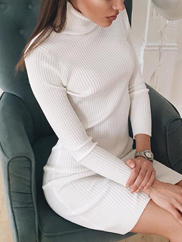 Long Sleeves Turtle Neck Bodycon DressWOMEN<br><br>Size: S; Color: WHITE; Style: Casual; Material: Cotton,Polyester; Silhouette: Bodycon; Dresses Length: Mini; Neckline: Turtleneck; Sleeve Length: Long Sleeves; Pattern Type: Solid Color; With Belt: No; Season: Fall,Winter; Weight: 0.2800kg; Package Contents: 1 x Dress; Occasion: Causal,Night Out;