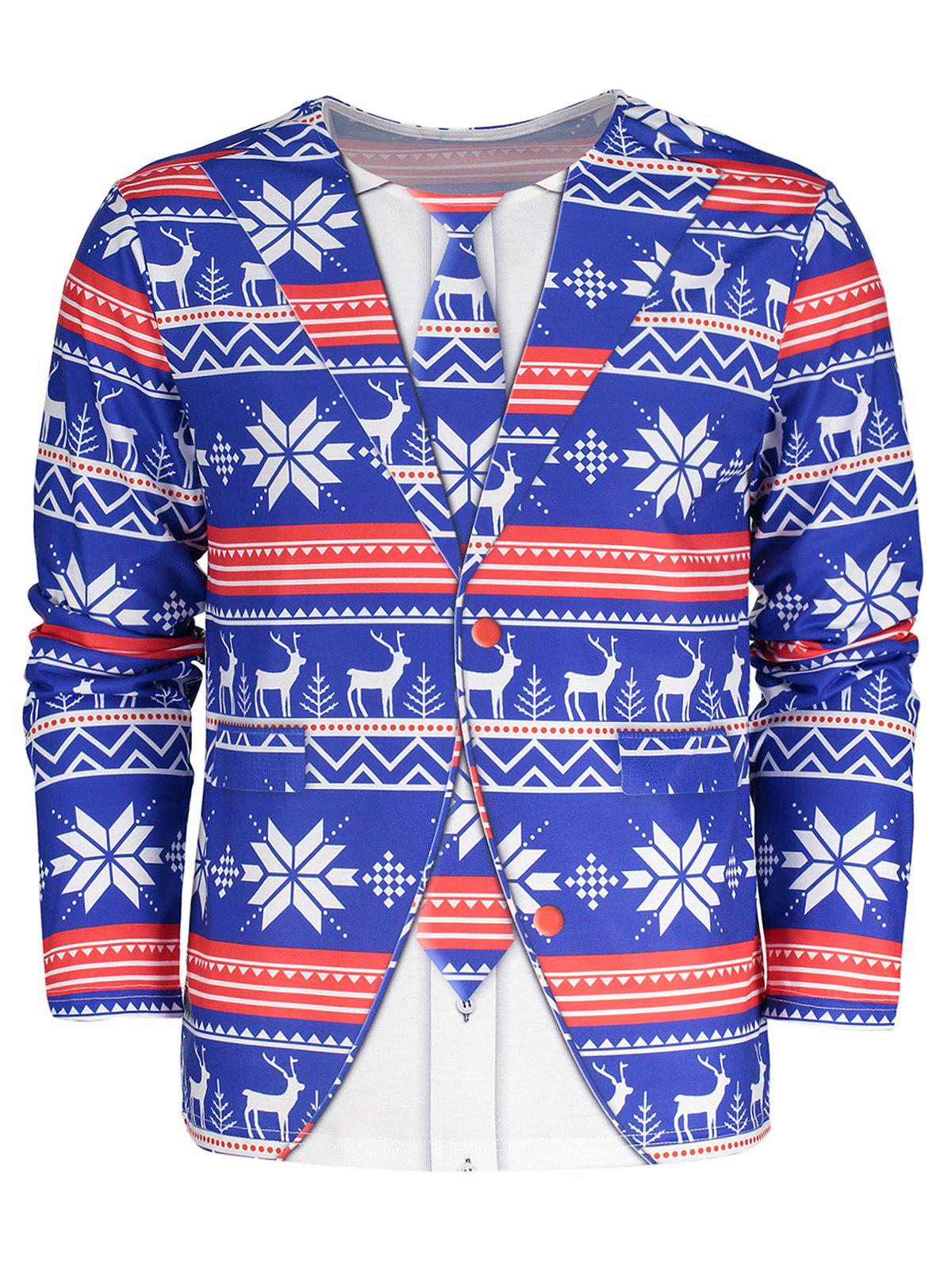 Plus Size Christmas 3D Printed TeeMEN<br><br>Size: 5XL; Color: BLUE; Material: Polyester; Sleeve Length: Full; Collar: Round Neck; Style: Casual; Pattern Type: Print; Season: Fall,Winter; Weight: 0.4100kg; Package Contents: 1 x Tee;