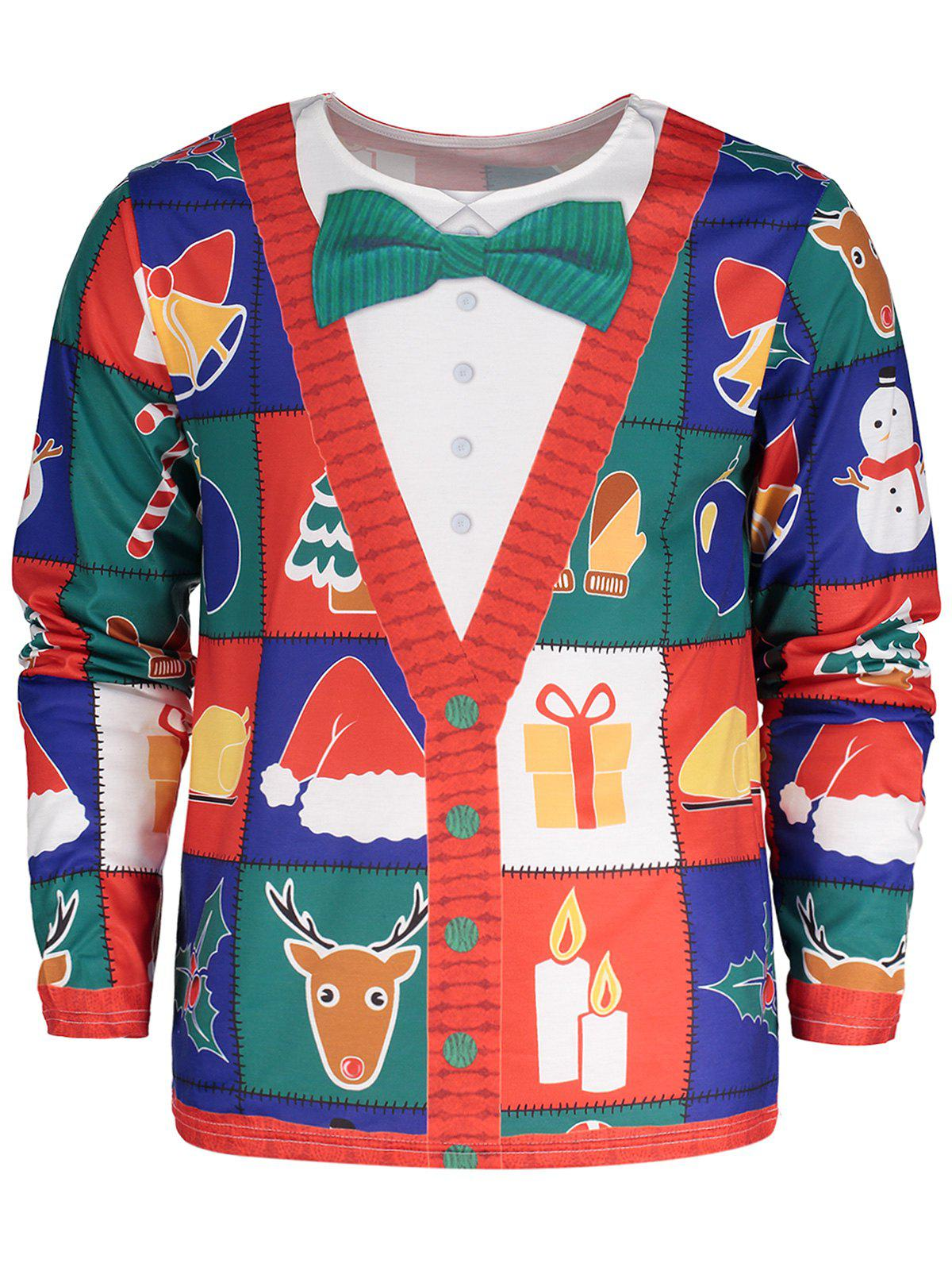 Bowknot Tie Cardigan Print Santa Christmas T-shirtMEN<br><br>Size: 2XL; Color: COLORMIX; Material: Polyester,Spandex; Sleeve Length: Full; Collar: Crew Neck; Style: Fashion; Pattern Type: Color Block,Print,Star; Season: Fall,Spring,Summer; Weight: 0.3200kg; Package Contents: 1 x T-shirt;