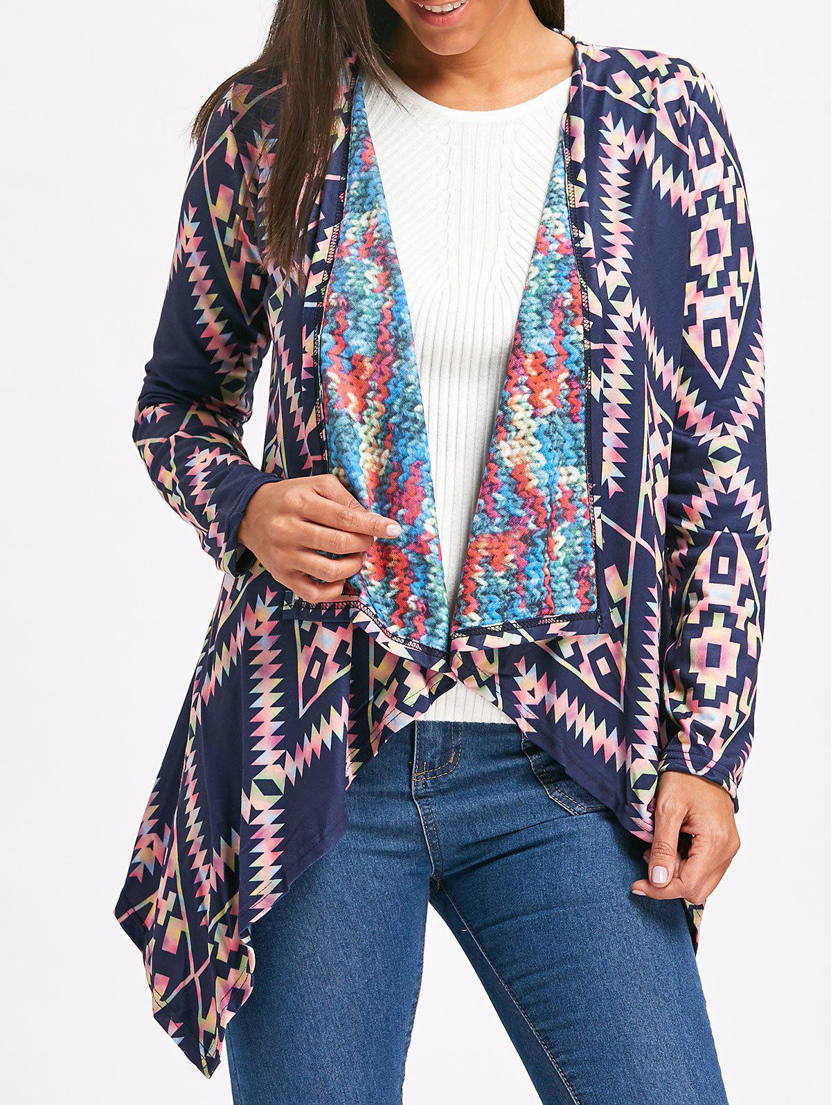 Retro Style Collarless Long Sleeve Loose-Fitting Ethnic Print Women's Cardigan, Purplish blue