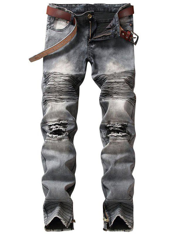 Zipper Hem Light Wash Distressed Biker JeansMEN<br><br>Size: 38; Color: GRAY; Material: Cotton,Polyester; Pant Length: Long Pants; Wash: Destroy Wash; Fit Type: Regular; Waist Type: Mid; Closure Type: Zipper Fly; Weight: 0.6700kg; Package Contents: 1 x Jeans; With Belt: No;