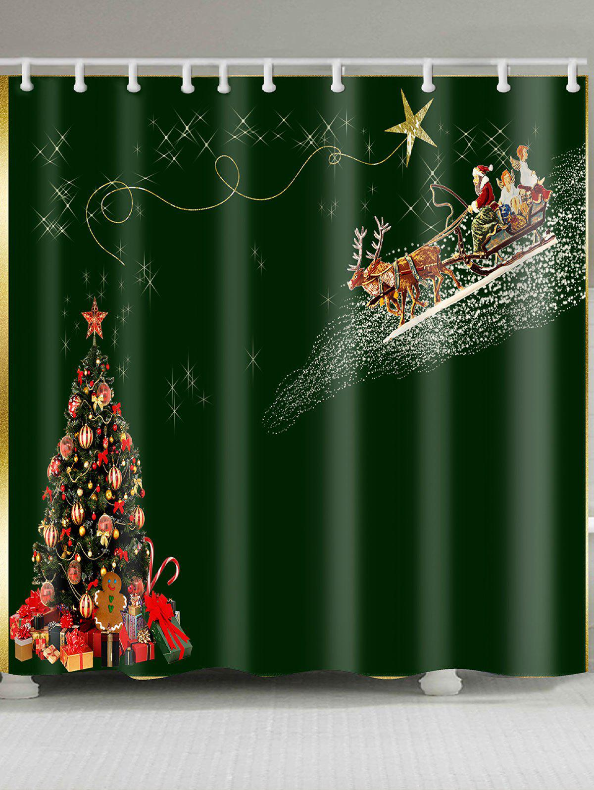 Image of Christmas Carriage and Tree Pattern Waterproof Shower Curtain