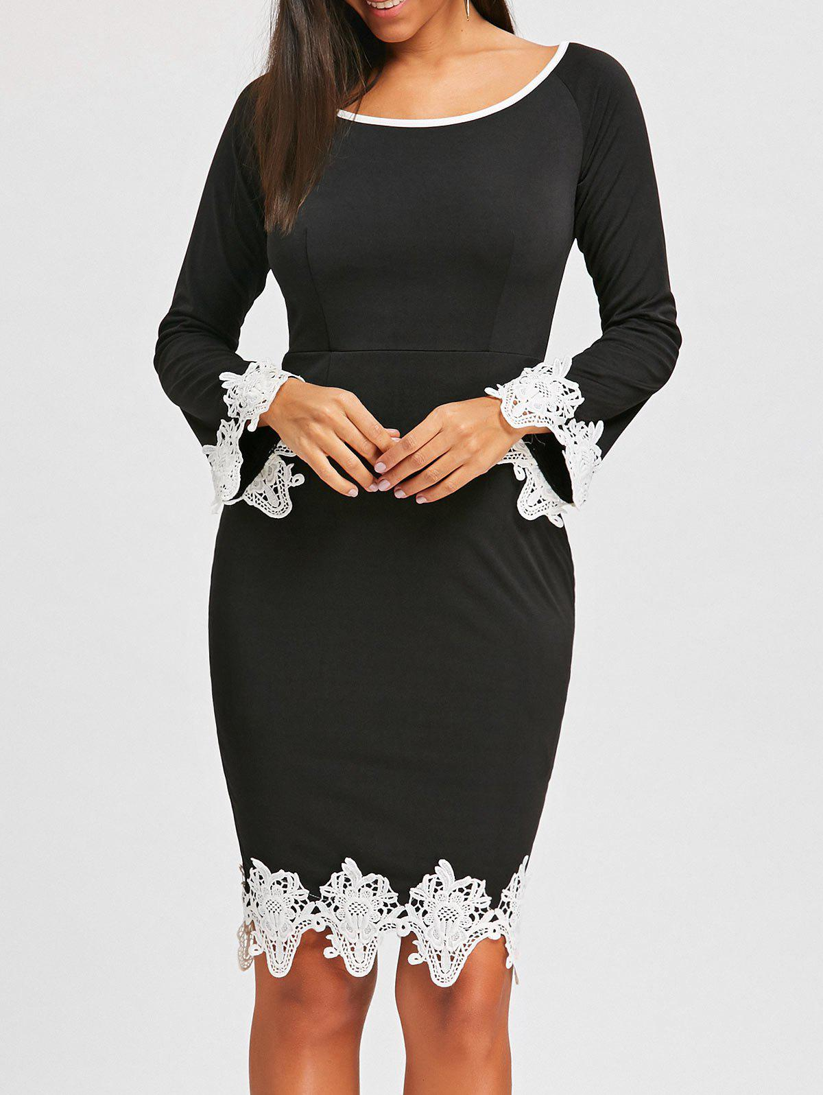 Affordable Lace Insert Pencil Dress