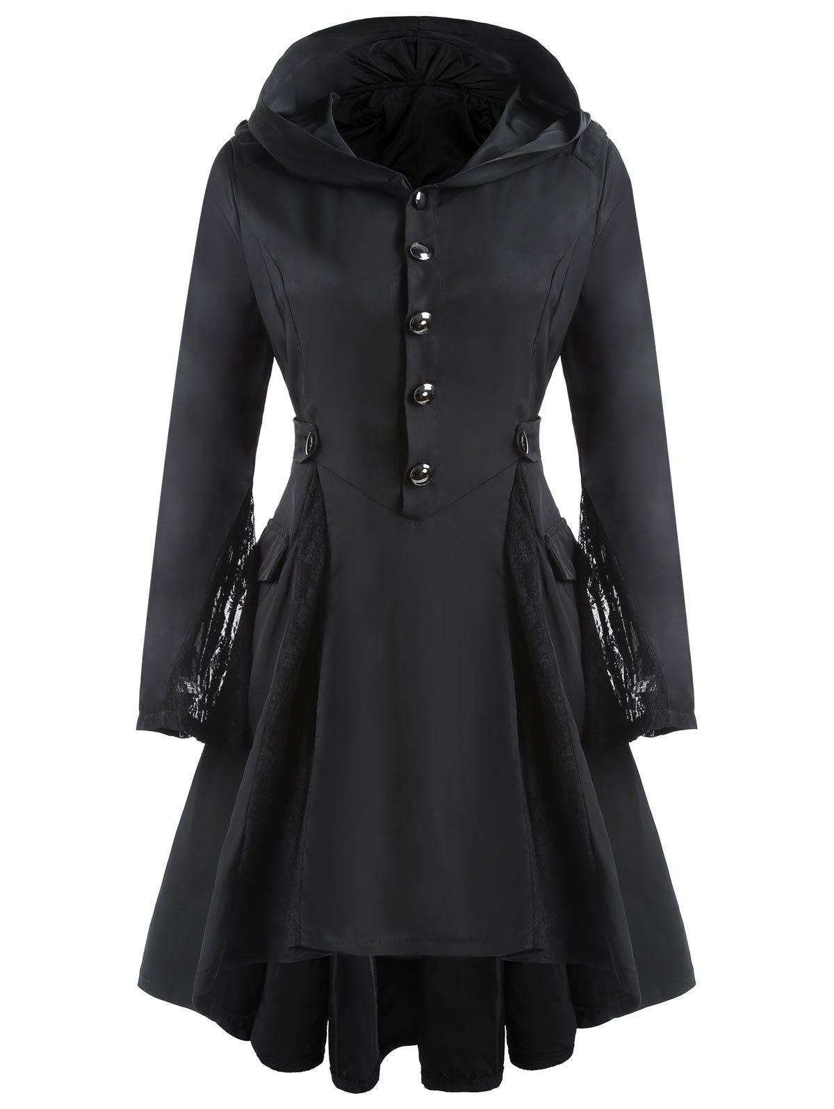 Hooded Lace Insert High Low Skirted CoatWOMEN<br><br>Size: L; Color: BLACK; Clothes Type: Jackets; Material: Polyester; Type: Skirted; Shirt Length: Long; Sleeve Length: Full; Collar: Hooded; Pattern Type: Patchwork; Embellishment: Patch Designs; Style: Punk; Season: Fall,Spring; With Belt: No; Weight: 0.4500kg; Package Contents: 1 x Coat;