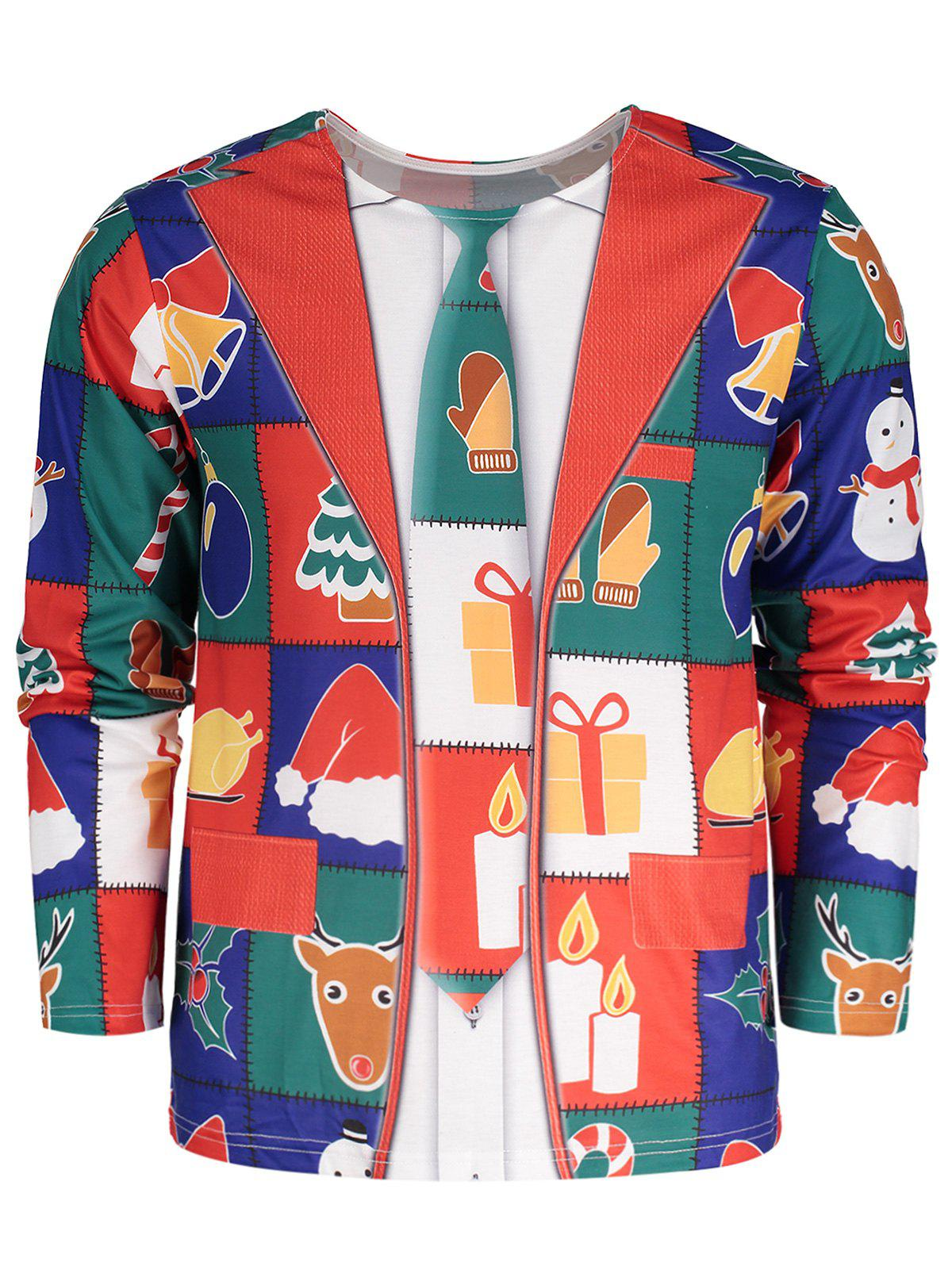 Affordable Allover Christmas Pattern Long Sleeve T-shirt