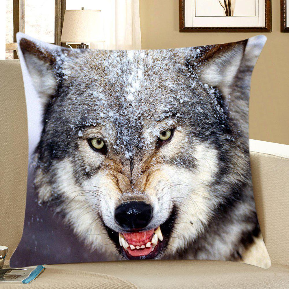 Snow Wolf Pattern Square Pillow CaseHOME<br><br>Size: W18 INCH * L18 INCH; Color: GRAY; Material: Linen; Pattern: Animal; Style: Casual; Shape: Square; Weight: 0.0700kg; Package Contents: 1 x Pillow Case;