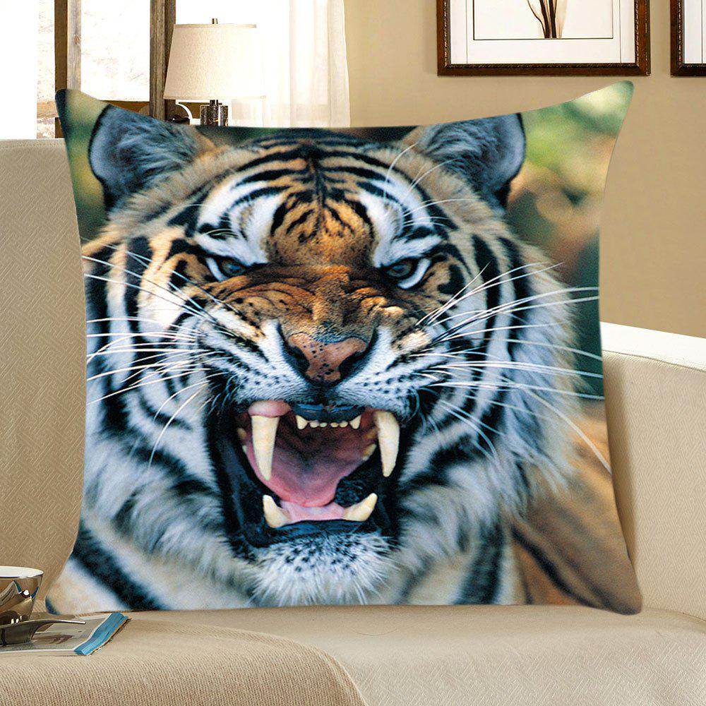 Tiger Head Pattern Square Pillow CaseHOME<br><br>Size: W18 INCH * L18 INCH; Color: COLORFUL; Material: Linen; Pattern: Animal; Style: Casual; Shape: Square; Weight: 0.0700kg; Package Contents: 1 x Pillow Case;