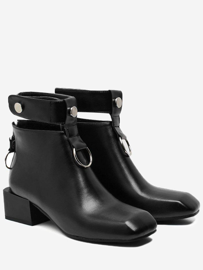Block Heel Square Toe Ankle Strap BootsSHOES &amp; BAGS<br><br>Size: 37; Color: BLACK; Gender: For Women; Boot Type: Fashion Boots; Season: Spring/Fall,Winter; Boot Height: Ankle; Toe Shape: Square Toe; Heel Type: Chunky Heel; Heel Height Range: Med(1.75-2.75); Heel Height: 4.5CM; Pattern Type: Solid; Closure Type: Zip; Shoe Width: Medium(B/M); Upper Material: PU; Weight: 1.1200kg; Package Contents: 1 x Boots (pair);