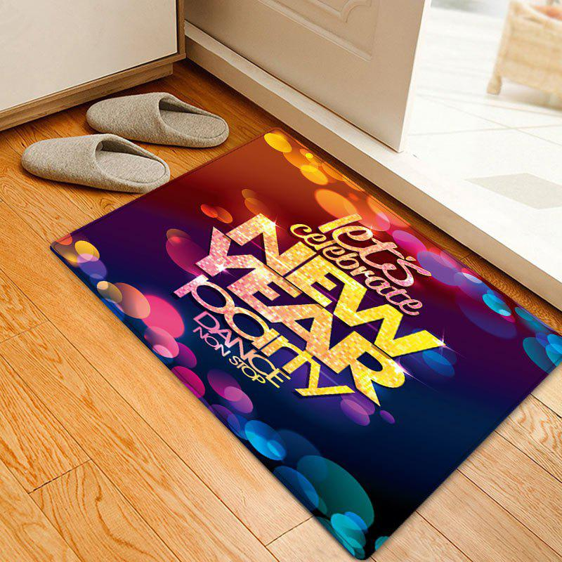 New Year Party Pattern Anti-skid Water Absorption Area RugHOME<br><br>Size: W20 INCH * L31.5 INCH; Color: COLORMIX; Products Type: Bath rugs; Materials: Flannel; Pattern: Letter; Style: Festival; Shape: Rectangle; Package Contents: 1 x Rug;