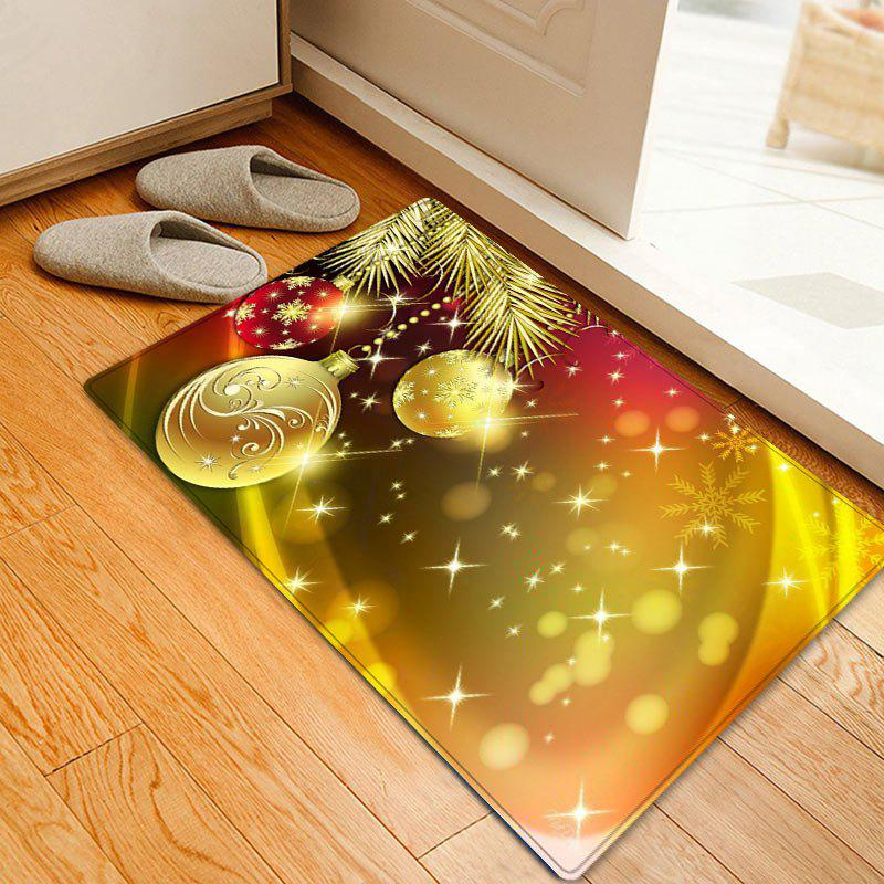Christmas Balls Snowflake Pattern Anti-skid Water Absorption Area RugHOME<br><br>Size: W20 INCH * L31.5 INCH; Color: GOLDEN; Products Type: Bath rugs; Materials: Flannel; Pattern: Ball,Snowflake; Style: Festival; Shape: Rectangle; Package Contents: 1 x Rug;