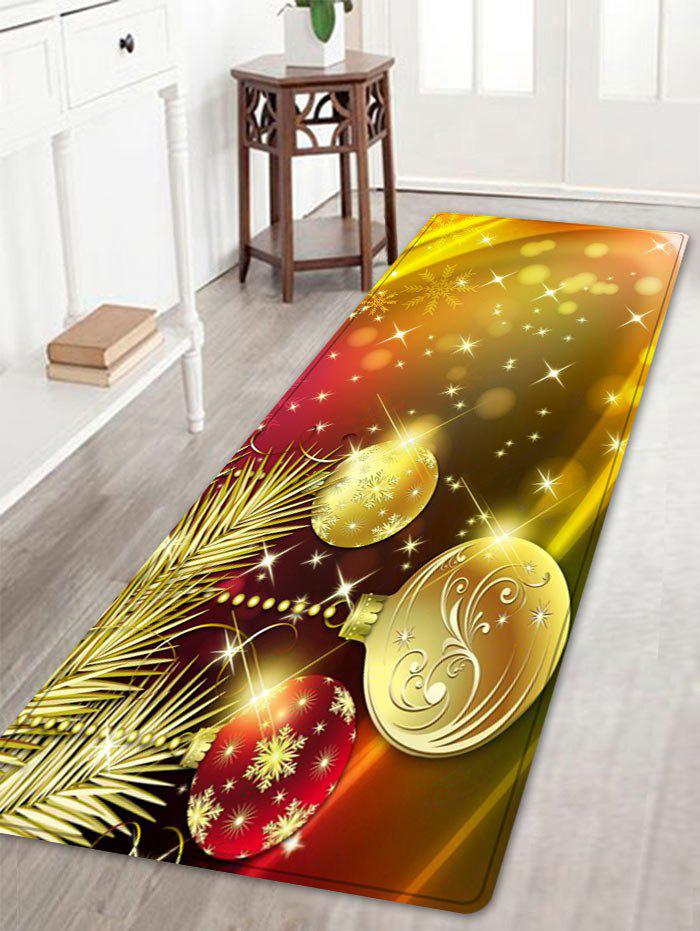 Christmas Balls Snowflake Pattern Anti-skid Water Absorption Area RugHOME<br><br>Size: W16 INCH * L47 INCH; Color: GOLDEN; Products Type: Bath rugs; Materials: Flannel; Pattern: Ball,Snowflake; Style: Festival; Shape: Rectangle; Package Contents: 1 x Rug;