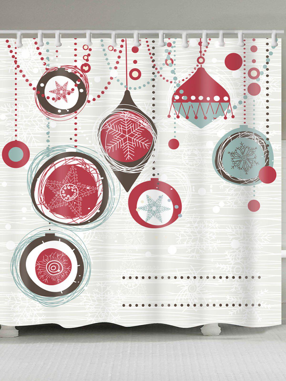 Christmas Balls Patterned Bathroom Shower CurtainHOME<br><br>Size: W71 INCH * L79 INCH; Color: RED AND WHITE; Products Type: Shower Curtains; Materials: Polyester; Pattern: Ball,Print; Style: Festival; Number of Hook Holes: W59 inch * L71 inch:10, W71 inch * L71 inch:12, W71 inch * L79 inch:12; Package Contents: 1 x Shower Curtain 1 x Hooks (Set);