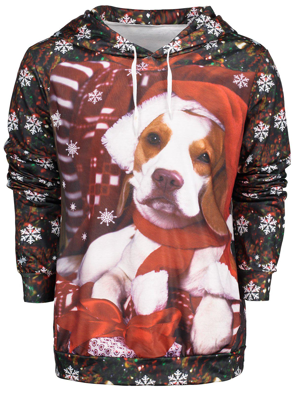Unique Snowflake Print Christmas Dog Pullover Hoodie