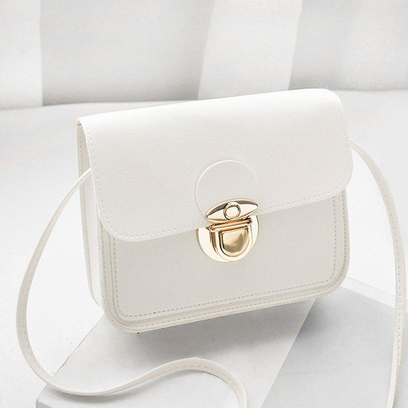 Faux Leather Stitching Crossbody BagSHOES &amp; BAGS<br><br>Size: HORIZONTAL; Color: WHITE; Handbag Type: Crossbody bag; Style: Fashion; Gender: For Women; Pattern Type: Solid; Handbag Size: Mini(&lt;20cm); Closure Type: Hasp; Occasion: Versatile; Main Material: PU; Weight: 0.3700kg; Package Contents: 1 x Crossbody Bag; Package Size(L x W x H): 20.00 x 5.00 x 10.00 cm / 7.87 x 1.97 x 3.94 inches;
