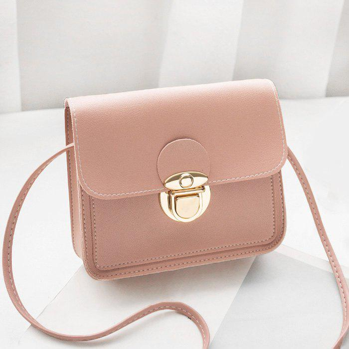 Faux Leather Stitching Crossbody BagSHOES &amp; BAGS<br><br>Size: HORIZONTAL; Color: PINK; Handbag Type: Crossbody bag; Style: Fashion; Gender: For Women; Pattern Type: Solid; Handbag Size: Mini(&lt;20cm); Closure Type: Hasp; Occasion: Versatile; Main Material: PU; Weight: 0.3700kg; Package Contents: 1 x Crossbody Bag; Package Size(L x W x H): 20.00 x 5.00 x 10.00 cm / 7.87 x 1.97 x 3.94 inches;