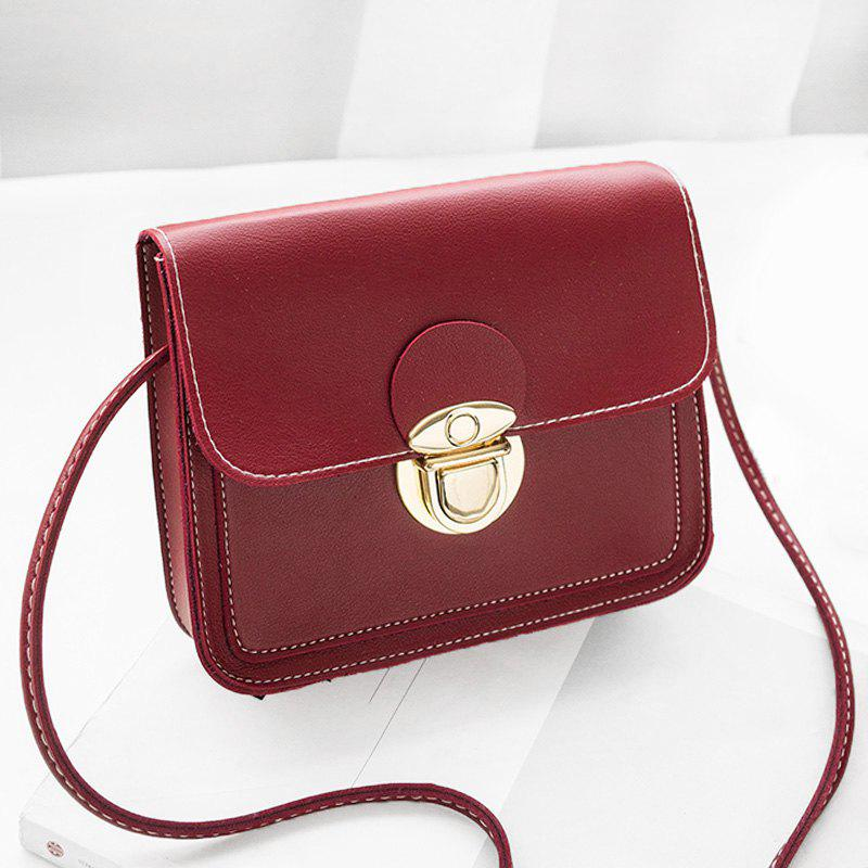 Faux Leather Stitching Crossbody BagSHOES &amp; BAGS<br><br>Size: HORIZONTAL; Color: RED; Handbag Type: Crossbody bag; Style: Fashion; Gender: For Women; Pattern Type: Solid; Handbag Size: Mini(&lt;20cm); Closure Type: Hasp; Occasion: Versatile; Main Material: PU; Weight: 0.3700kg; Package Contents: 1 x Crossbody Bag; Package Size(L x W x H): 20.00 x 5.00 x 10.00 cm / 7.87 x 1.97 x 3.94 inches;