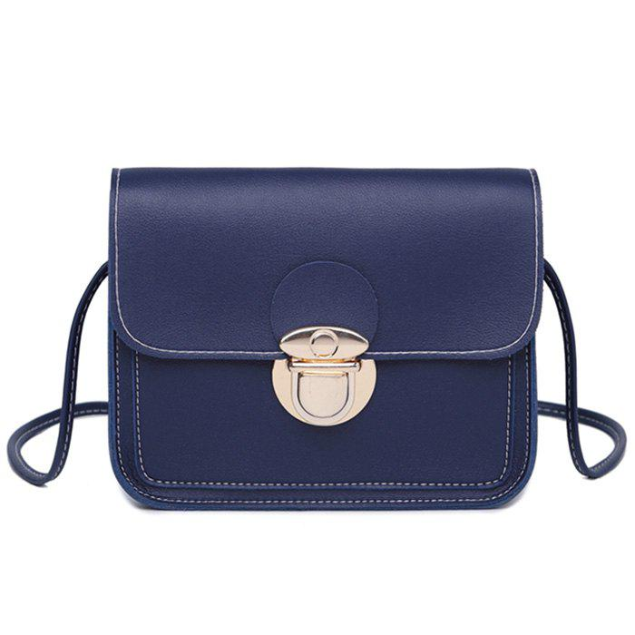 Faux Leather Stitching Crossbody BagSHOES &amp; BAGS<br><br>Size: HORIZONTAL; Color: BLUE; Handbag Type: Crossbody bag; Style: Fashion; Gender: For Women; Pattern Type: Solid; Handbag Size: Mini(&lt;20cm); Closure Type: Hasp; Occasion: Versatile; Main Material: PU; Weight: 0.3700kg; Package Contents: 1 x Crossbody Bag; Package Size(L x W x H): 20.00 x 5.00 x 10.00 cm / 7.87 x 1.97 x 3.94 inches;