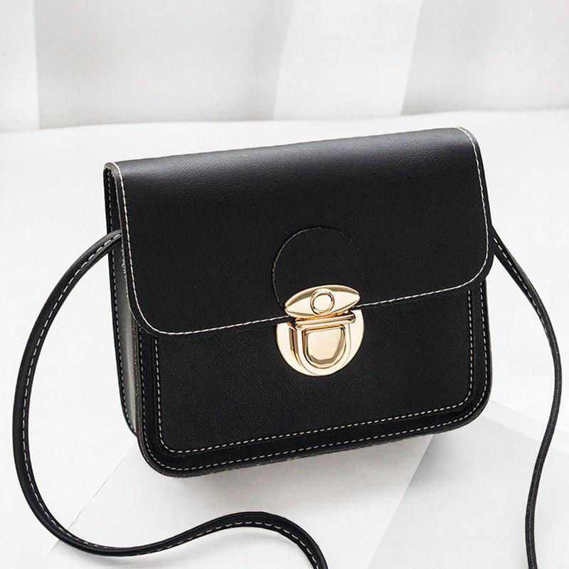 Faux Leather Stitching Crossbody BagSHOES &amp; BAGS<br><br>Size: HORIZONTAL; Color: BLACK; Handbag Type: Crossbody bag; Style: Fashion; Gender: For Women; Pattern Type: Solid; Handbag Size: Mini(&lt;20cm); Closure Type: Hasp; Occasion: Versatile; Main Material: PU; Weight: 0.3700kg; Package Contents: 1 x Crossbody Bag; Package Size(L x W x H): 20.00 x 5.00 x 10.00 cm / 7.87 x 1.97 x 3.94 inches;