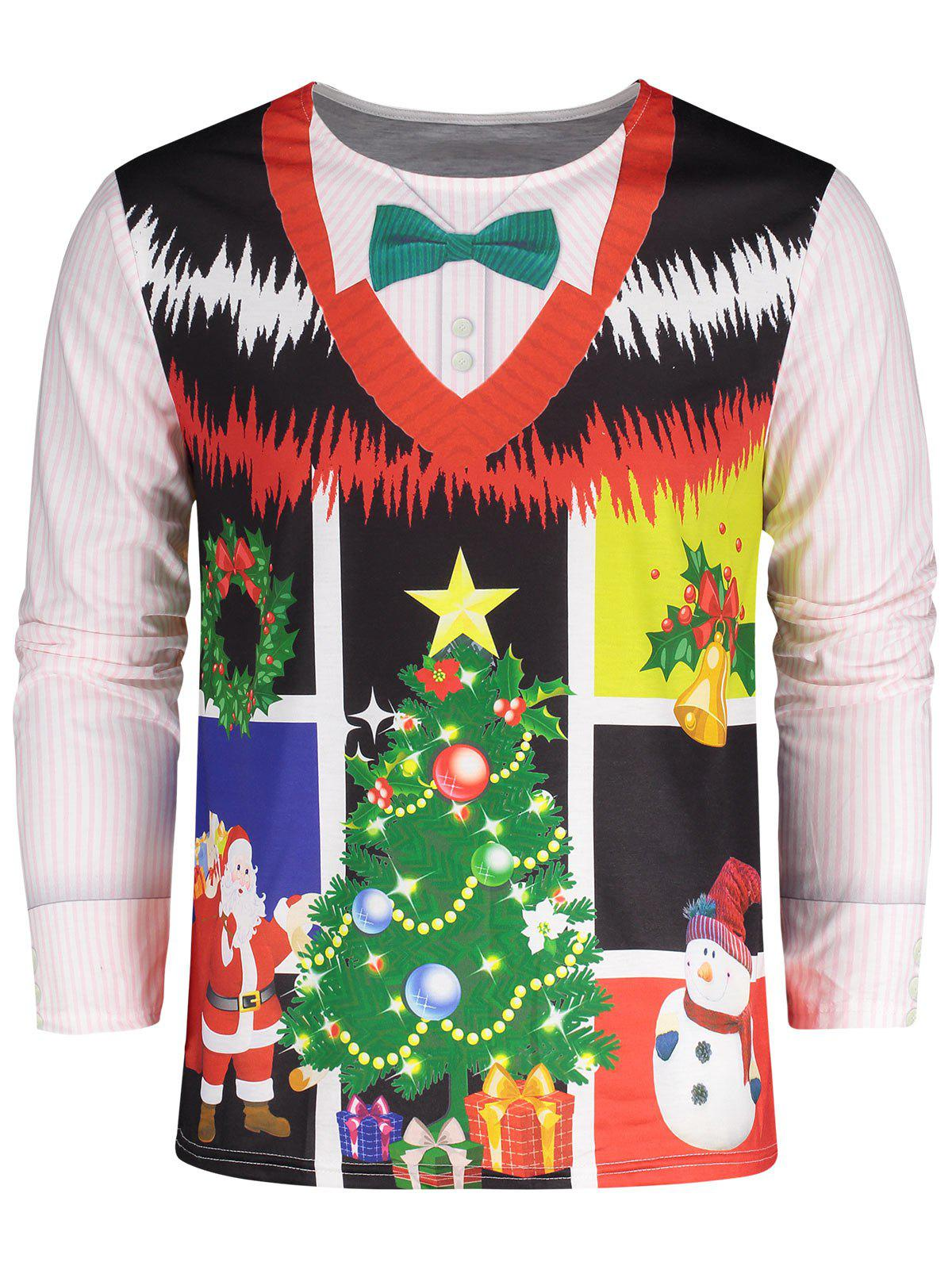 Plus Size 3D Print Christmas TeeMEN<br><br>Size: 4XL; Color: COLORMIX; Material: Polyester; Sleeve Length: Full; Collar: Round Neck; Style: Casual; Pattern Type: Print; Season: Fall,Winter; Weight: 0.2500kg; Package Contents: 1 x Tee;